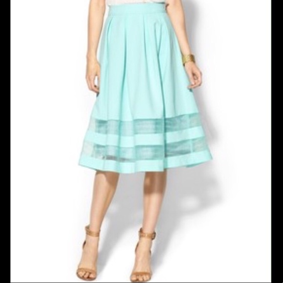 top fashion best loved best shoes JOA Organza Turquoise Midi Skirt